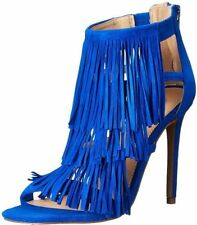 $129 size 6 Steve Madden Fringly Blue Suede Open Toe Ankle Strap Sandals shoes