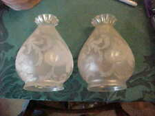 "Pair Art Nouveau Deep Acid Etched Floral 3-1/4"" Gas / Electric Shades WAS BENSON"