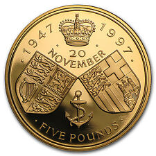 1997 Great Britain Gold £5 Golden Marriage Anniversary Proof - SKU #96736