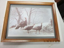 old wild turkey hunting picture framed