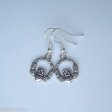 Pretty Irish Claddagh Heart Charm Short Drop Earrings - Love Friendship