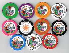 GEMACO SET OF SAMPLE CHIPS 10 ( $500.00 ) PLUS LOGO CHIP GREAT FOR COLLECTION!