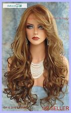 LONG CURLY HEAT SAFE SKIN TOP WIG CLR FS8.27.613 *GORGEOUS SEXY US SELLER 110