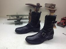 distressed VINTAGE BLACK LEATHER ENGINEER ZIP UP BUCKLE HIPSTER BOOTS 9-9.5