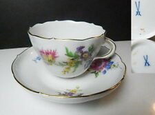 MEISSEN Floral Cup & Saucer, Crossed Swords First Quality Marks, Mint