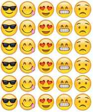 Emoji Faces Cupcake Toppers Edible Wafer Paper BUY 2 GET 3RD FREE