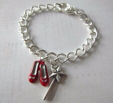 Wizard of Oz Ruby Slippers & Wand Silver Plated Bracelet New in Gift Bag