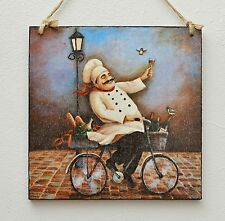 Vintage wooden hanging plaque/picture Cook Chef riding a bike, French cuisine