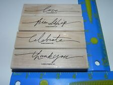 Stampin Up Wonderful Words Stamp Set of 4 thank you love friendship celebrate