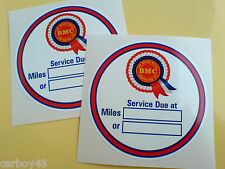 BMC SERVICE DUE At Classic Retro Car Reminder Stickers 2 off 75mm