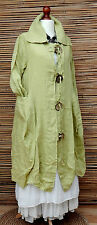 LAGENLOOK LINEN AMAZING BEAUTIFUL QUIRKY 2 POCKETS LONG JACKET*PASTEL GREEN*M-L