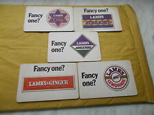 Collection of 5 Old Lambs Navy Rum Oblong Shaped  Beer Mats - Fancy One ?