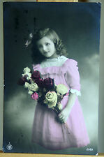 Antique postcard Edwardian girl child with roses 1912