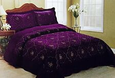 3pcs Embroidery Polyester Purple Bedspread  King Set