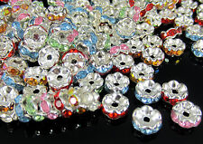 200pcs Small Crystal Rhinestone Silver Plated Rondelle Spacer Beads Finding 8mm