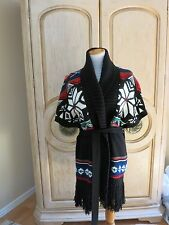 NWT RALPH LAUREN WOMEN'S NORDIC BLUE LABEL CARDIGAN BELTED HOLIDAY SWEATER LARGE