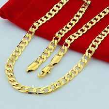 10mm 24 Inches Cuban Curb Chain 18K Gold Plated Men's Necklace Jewelry