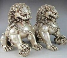 Rare Chinese Silver Guardian Lion Foo Fu Dog Statue Pair
