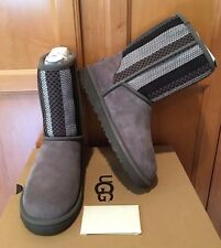 NEW NWB Women's Ugg Australia Classic Short Woven Suede Gray Grey Winter Boot 7