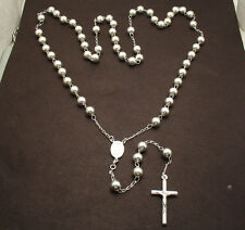 """8mm 34"""" Italian Bold Rosary Bead Cross Chain Necklace Real 925 Sterling Silver"""