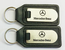 2 x Mercedes-Benz  Dealership Keyrings Dark Grey Leather & Stainless & Enamel