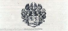 Antique print weapon - heraldry counts Nassau-Dillenburg