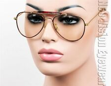 Aviator Glasses Hipster Vintage Style Cable Hook Temples Clear Lens Tortoise S11