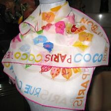 ~ New Auth Chanel scarf shawl 100% Silk COCO CC flowers butterflies Rue Cambon