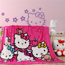 "Hello kitty family style coral fleece blankets for bed throw bedclothes 59""x79"""