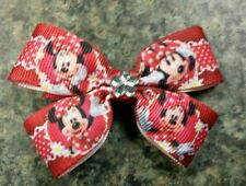 Disney minnie mouse red with flower hairbow toddler baby girl nonslip clip