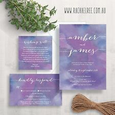 Wedding Invitation Set Suite Watercolour Purple White Elegant RSVP Wishing Well
