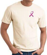 Mens Breast Cancer Awareness T-Shirt Pink Ribbon Pocket Print Shirt