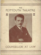 1932 Playbill Counsellor-At-Law Paul Muni  at The Plymouth Theatre