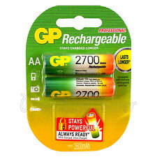 2 x GP Rechargeable AA batteries 2700 mAh min 2600 NiMH LR6 HR6 Phones Pack of 2