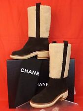 15A NIB CHANEL DARK BROWN  BEIGE SUEDE FAUX SHEARLING CC LOGO KNEE HIGH BOOTS 40