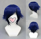 Mens Short Blue Hair Wigs Halloween Cosplay Party Costume Hair Wig + Cap