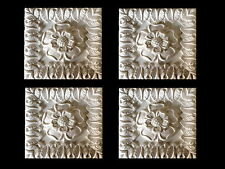LARGE 4 INCH SQUARE WHITE MOULDINGS TUDOR ROSE WITH LEAF EDGING OUTER SURROUND