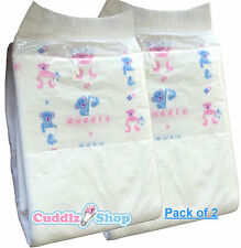 2 Cuddlz Medium Printed Panel Adult Baby Nappies ABDL Diapers / Nappy