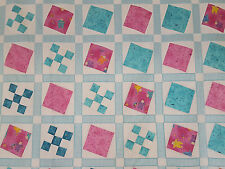 Unfinished Quilt Top -Turquoise & Pink Blocks-Square in a Square, approx 61 x 81