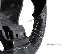 Pour PEUGEOT PARTNER 2 cuir noir perforé volant couvrir blanc stitch