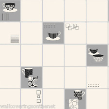 Black, White & Silver,Tiling on Roll Style, Kitchen Wallpaper *£12.99 inc P&P*