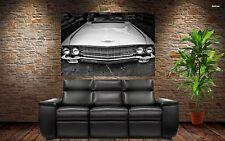 Vintage Classic Muscle Car - Vintage Black/White Cadillac 36x24 HD Poster Print