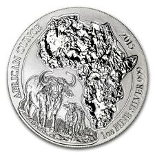 Rwanda African Wildlife Cape Buffalo 2015 1 oz .999 Silver Coin