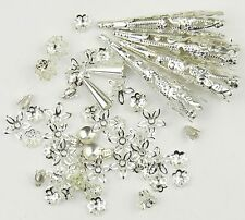 Mix Of Bright Silver Filigree Jewellery Bead Caps Bead Cones 45 Pieces 8 Styles