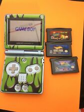 Game Boy Advance SP Pearl Blue System AGS-101 Brighter Screen w/Games