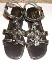 Women's Rieker Leather Sz 6.5 US, 37 EU Anti-Stress Strappy Sandals Black CUTE!!