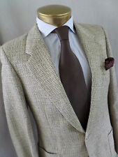YVES SAINT LAURENT made France tan check wool tweed side vent jacket 36 38L