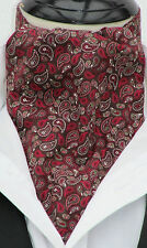 Brown & Burgundy Vintage Paisley 100%Cotton Ascot Cravat & Kerchief, Made in UK