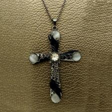Wholesale Black cross Crystal Sweater chain Charm necklace Pendants AA625