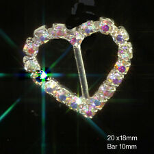 10 X DIAMANTE HEART AB RAINBOW SILVER RHINESTONE WEDDING RIBBON SLIDER BUCKLES